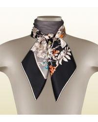 Gucci Black Wondergarden Print Silk Foulard