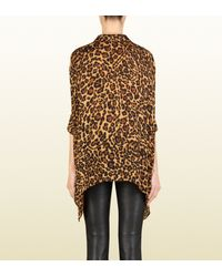 Gucci Multicolor Jaguar Print Silk Cape Shirt