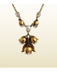 Gucci Metallic Necklace in Metal with Strass and Glass Pendant