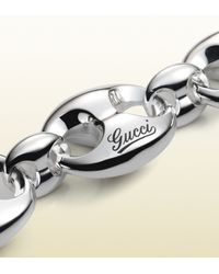 Gucci - Metallic Bracelet In Sterling Silver With Large Marina Chain Motif - Lyst