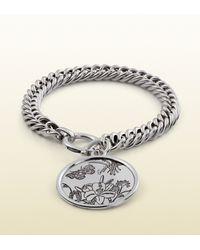 Gucci - Metallic Flora Bracelet In Sterling Silver for Men - Lyst