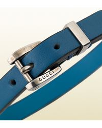 Gucci | Blue Bracelet in Turquoise Leather with Palladium Buckle for Men | Lyst
