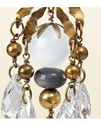 Gucci - Metallic Earrings with White Pendants - Lyst