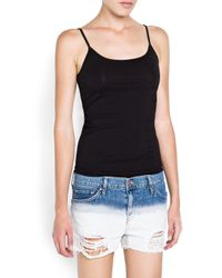 Mango Black Spaghetti Strap Cotton Top