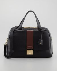 Marc Jacobs Frankie Bicolor Zip Satchel Bag Black