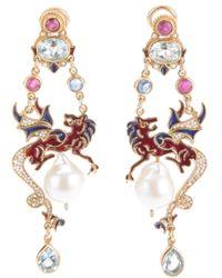 Percossi Papi Metallic Jewel Dragon Drop Pearl Earrings