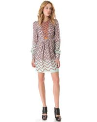 Peter Som - Multicolor Floral Long Sleeve Dress - Lyst