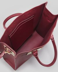 Sophie Hulme Purple Signature Leather Tote Bag Burgundy
