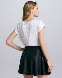 Theory Black Actra Pleated Leather Skirt