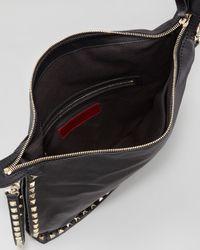 Valentino Rockstud Allaround Small Flat Hobo Bag Black