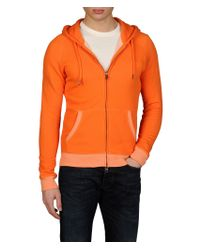 Armani Jeans Orange Semiraised Sweatshirt with Twocolor Trim for men