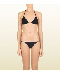 Gucci Black Swim Jersey Triangle Bikini