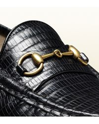 Gucci Black Horsebit Loafer in Lizard