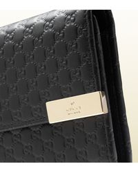 Gucci Black Microssima Leather Continental Wallet