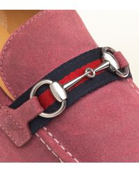 Gucci Elanor Dark Pink Suede Horsebit Loafer for men
