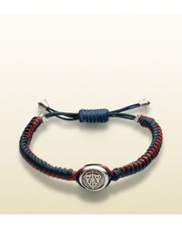 Gucci - Green Woven Leather Bracelet With Crest Tag for Men - Lyst