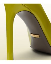 Gucci Gloria Yellow Patent Leather High Heel Pumps