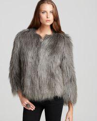 Guess Gray Felicia Faux Fur Jacket