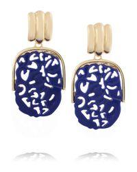 Kenneth Jay Lane Blue Goldplated Lapis Clip Earrings