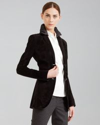 Akris Punto Long Suede Blazer with Removable Collar Black