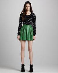 Alice + Olivia Green Alice Olivia Pleated Leather Miniskirt