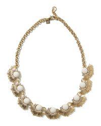 Banana Republic | Metallic Jeweled Leaf Necklace | Lyst