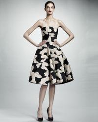 Lanvin Strapless Butterfly Jacquard Dress Blackivory