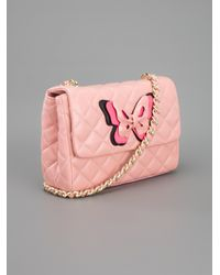 Boutique Moschino Pink Quilted Butterfly Shoulder Bag