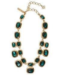Oscar de la Renta | Green Geometric Crystal Necklace | Lyst