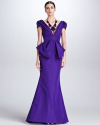 Oscar de la Renta Purple Deep V-neck Silk Faille Gown Mulberry