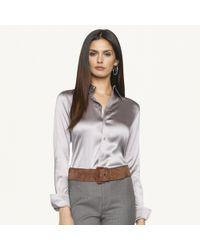 Ralph Lauren Black Label Metallic Slim-fit Silk Rachel Shirt