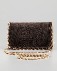 Stella McCartney Brown Snake-embossed Velvet Crossbody Bag Bronze