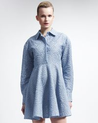 Stella McCartney Long-sleeve Lace Circle Dress Oxford Blue
