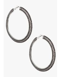 Bebe | Black Three Row Stone Hoop Earrings | Lyst