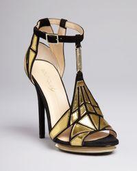Boutique 9 Black Platform Evening Sandals Orseena Art Deco