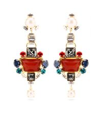 Emilio Pucci - Red Crystal Bead Embellished Drop Earrings - Lyst