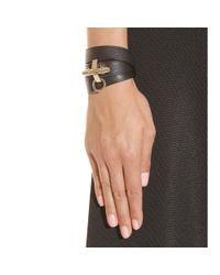 Givenchy - Black Obsedia Leather Wraparound Bracelet - Lyst