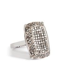 Ileana Makri - Metallic 18k White Gold Emerald Cut Gem Ring with Grey Diamonds - Lyst