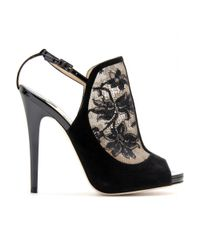 Jimmy Choo Black Maylen Lace and Suede Stiletto Pumps