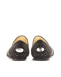 Jimmy Choo Metallic Wheel Studded Suede Slipperstyle Loafers