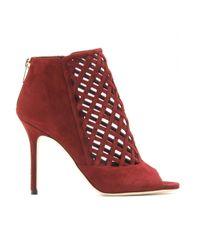 Jimmy Choo Red Drift Suede Peeptoe Ankle Boots