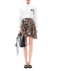 KENZO Black Herringbone Textured Leather-Look Shorts