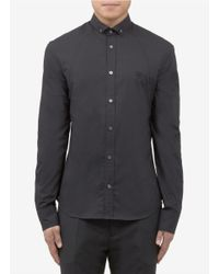 McQ - Gray Slim-fit Logo Embroidery Shirt for Men - Lyst