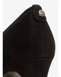 Stuart Weitzman Black 'logo Plain Field' Suede Peep-toe Pumps