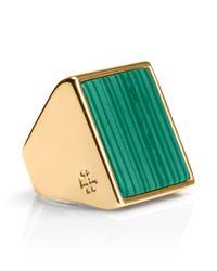 Tory Burch Green Flat Stone Ring