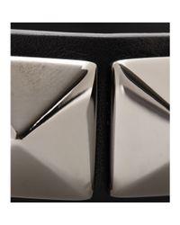 Valentino Black Rockstud Noir Leather Bracelet