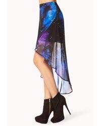 Forever 21 Purple Cosmic Layered Highlow Skirt