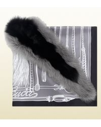 Gucci Gray Silk Poncho with Fox Fur Trim