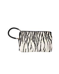 Lanvin White Zebra Pony Wristlet Clutch