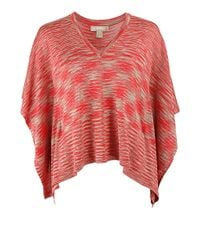 Michael Kors - Red Space Dye Vneck Poncho - Lyst